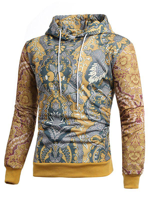 Fashion Retro Allover Printed Casual Hoodie