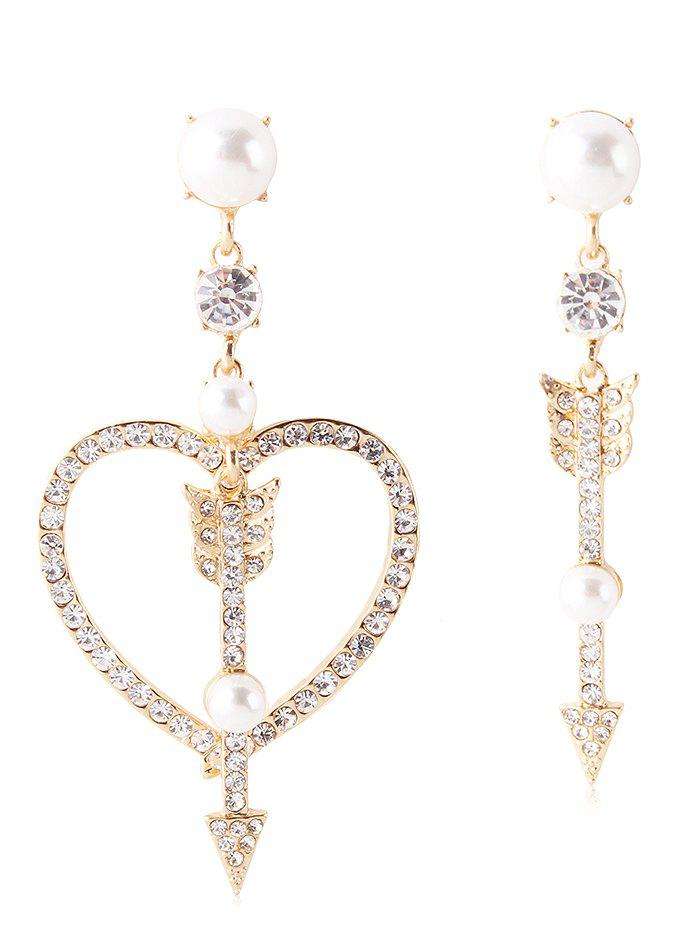 Online Rhinestone Heart Arrow Asymmetric Earrings