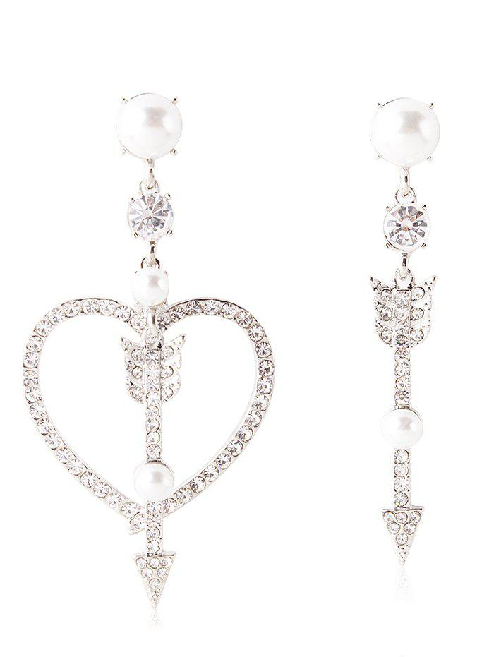 Outfit Rhinestone Heart Arrow Asymmetric Earrings