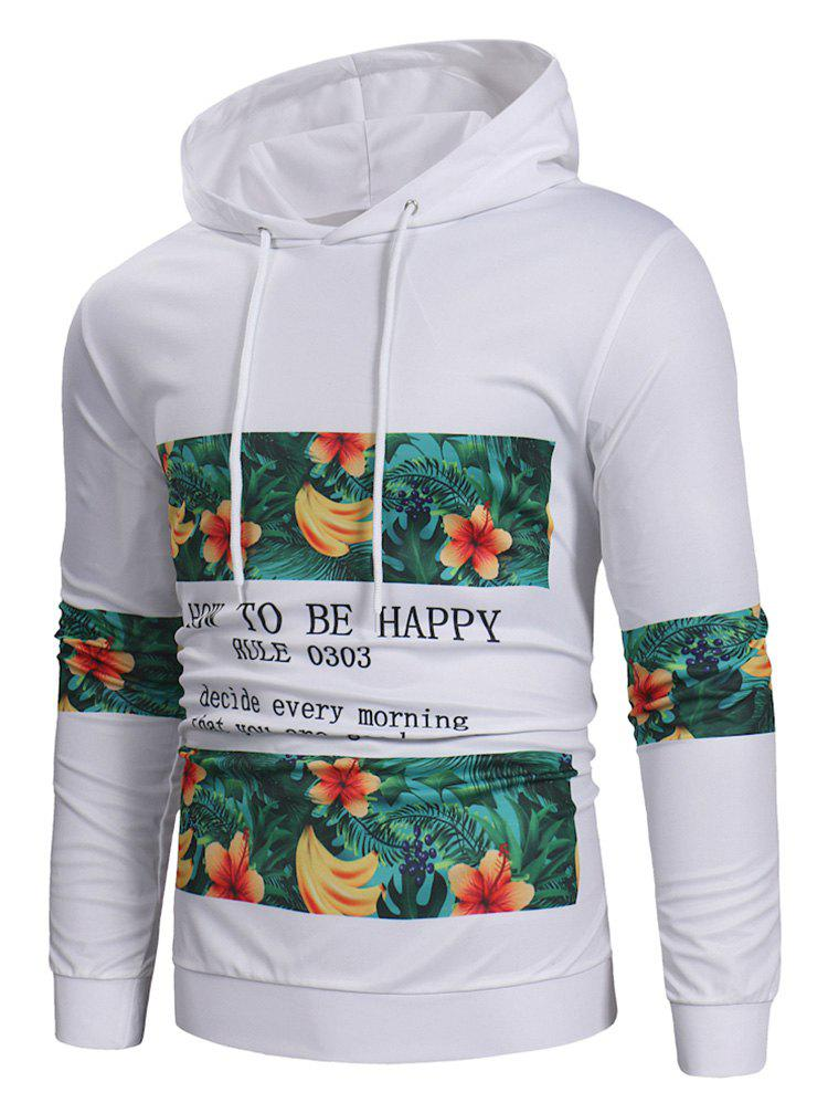 Trendy Fruit Letter Printed Drawstring Hoodie