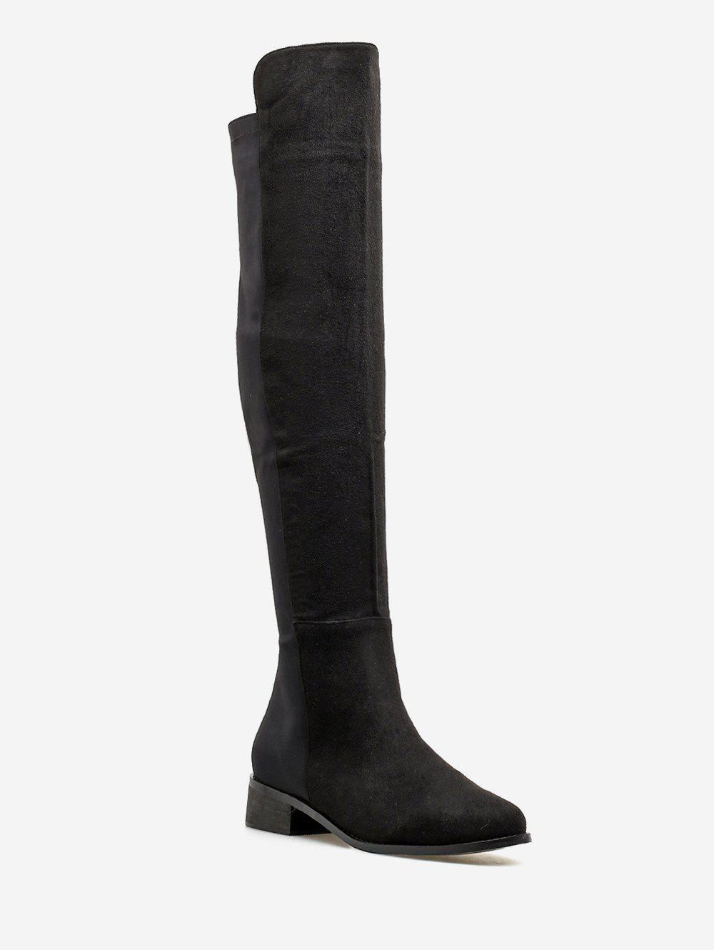 Online Chunky Heel Suede Over the Knee Boots