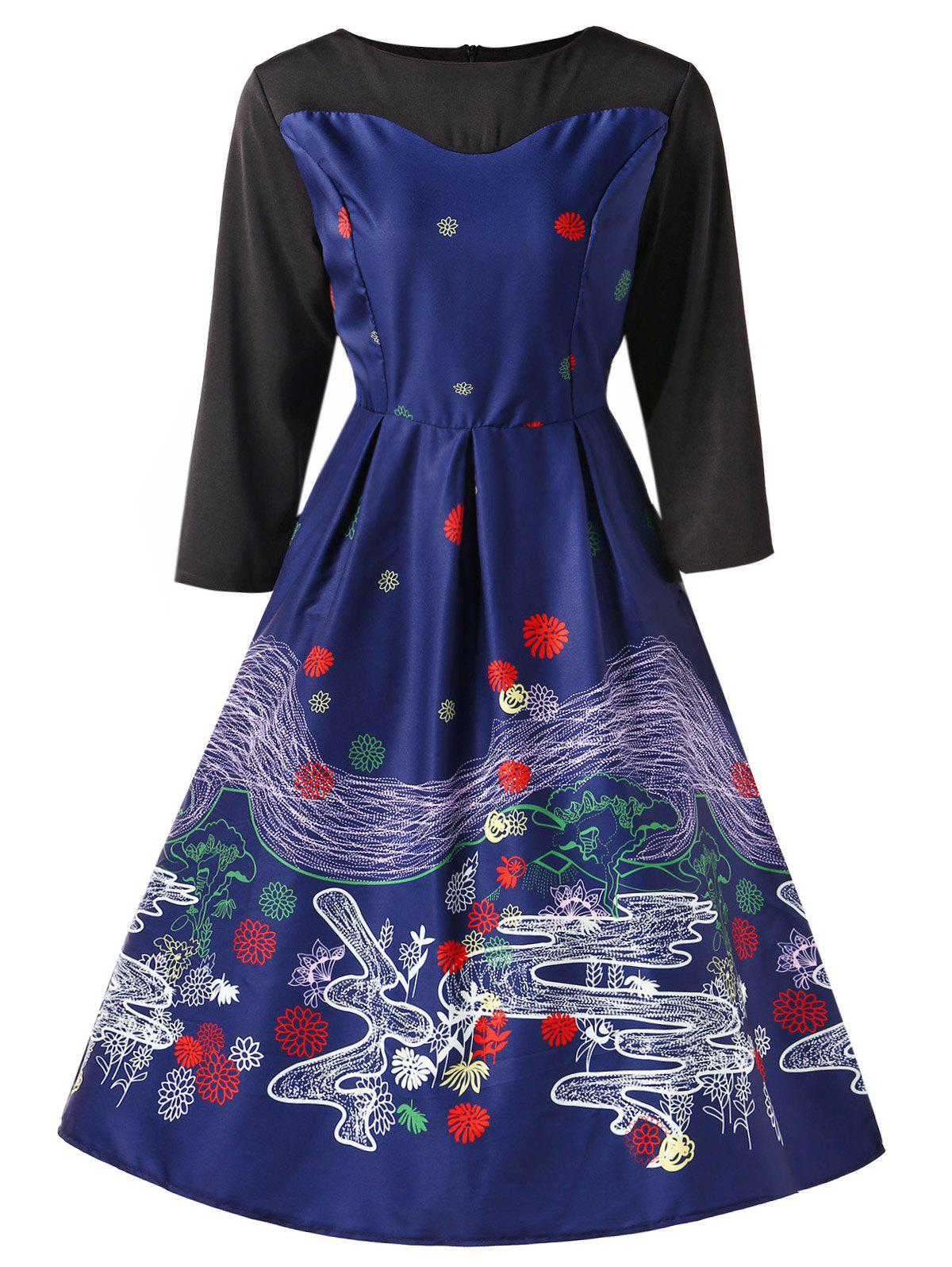 Hot Vintage Printed Pin Up Dress