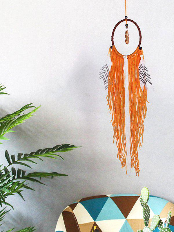 Latest Handmade Faux Jade Fringed Feathers Dream Catcher