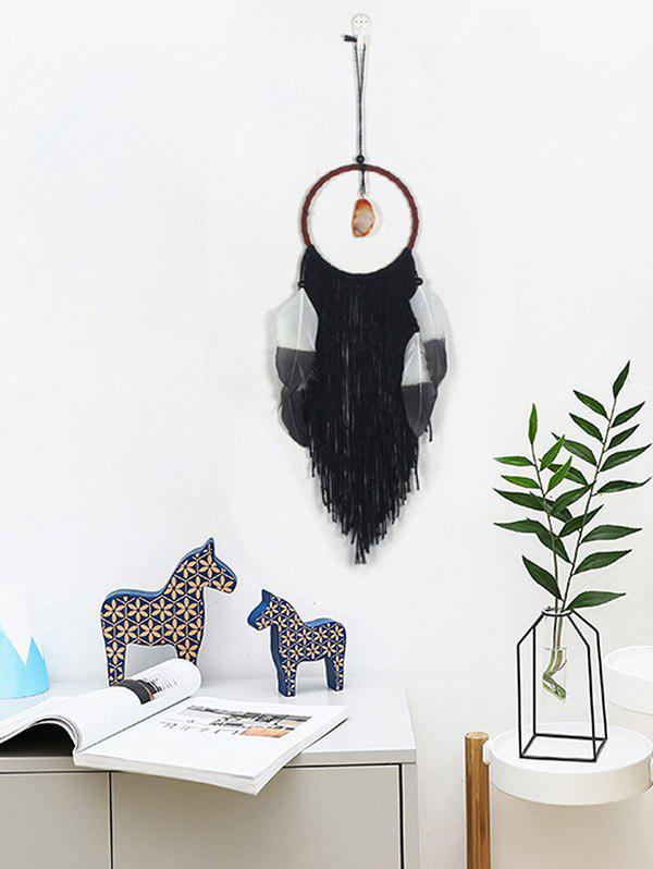 Outfit Faux Jade Feathers Fringed Dream Catcher Wall Hanging
