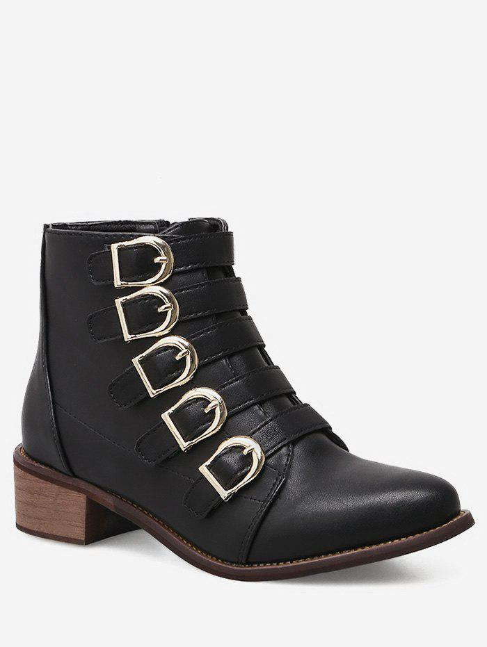 Affordable Pointed Toe Buckle Strap Short Boots