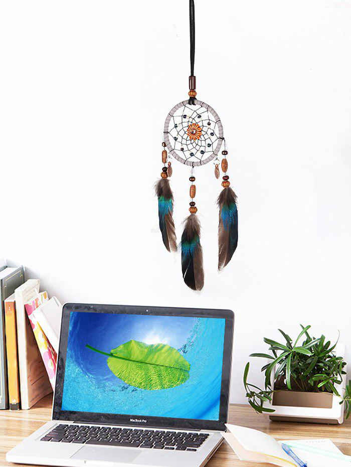 Fancy Feathers Beads Handmade Dream Catcher Wall Hanging