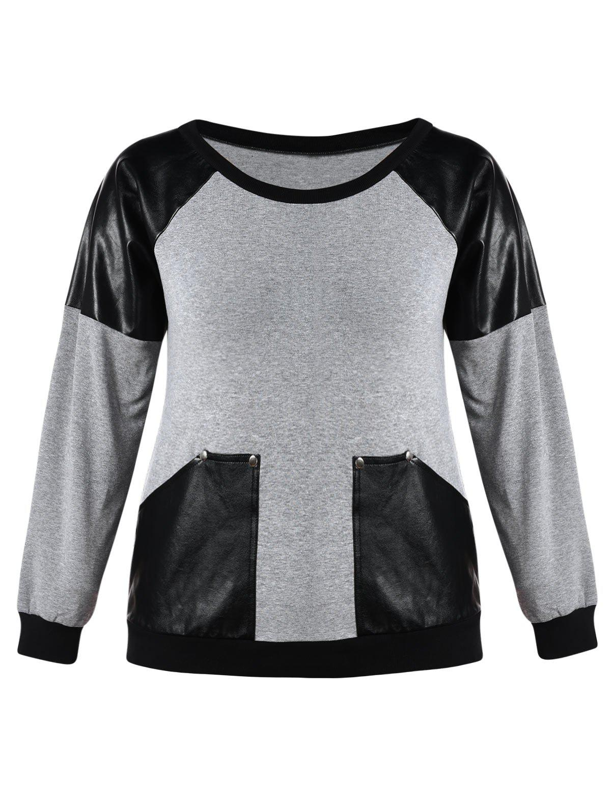 Buy Plus Size Raglan Sleeve PU Insert Sweatshirt