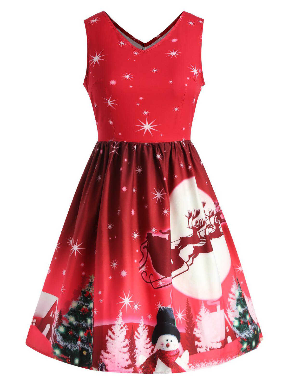 Trendy Christmas Tree Print Plus Size A Line Dress