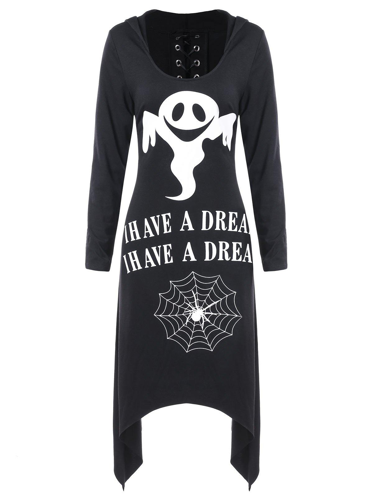 Best Halloween Asymmetric Lace Up Graphic Pullover Hoodie