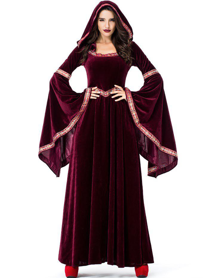 Shop Halloween Long Sleeve Maxi Velvet Hooded Dress