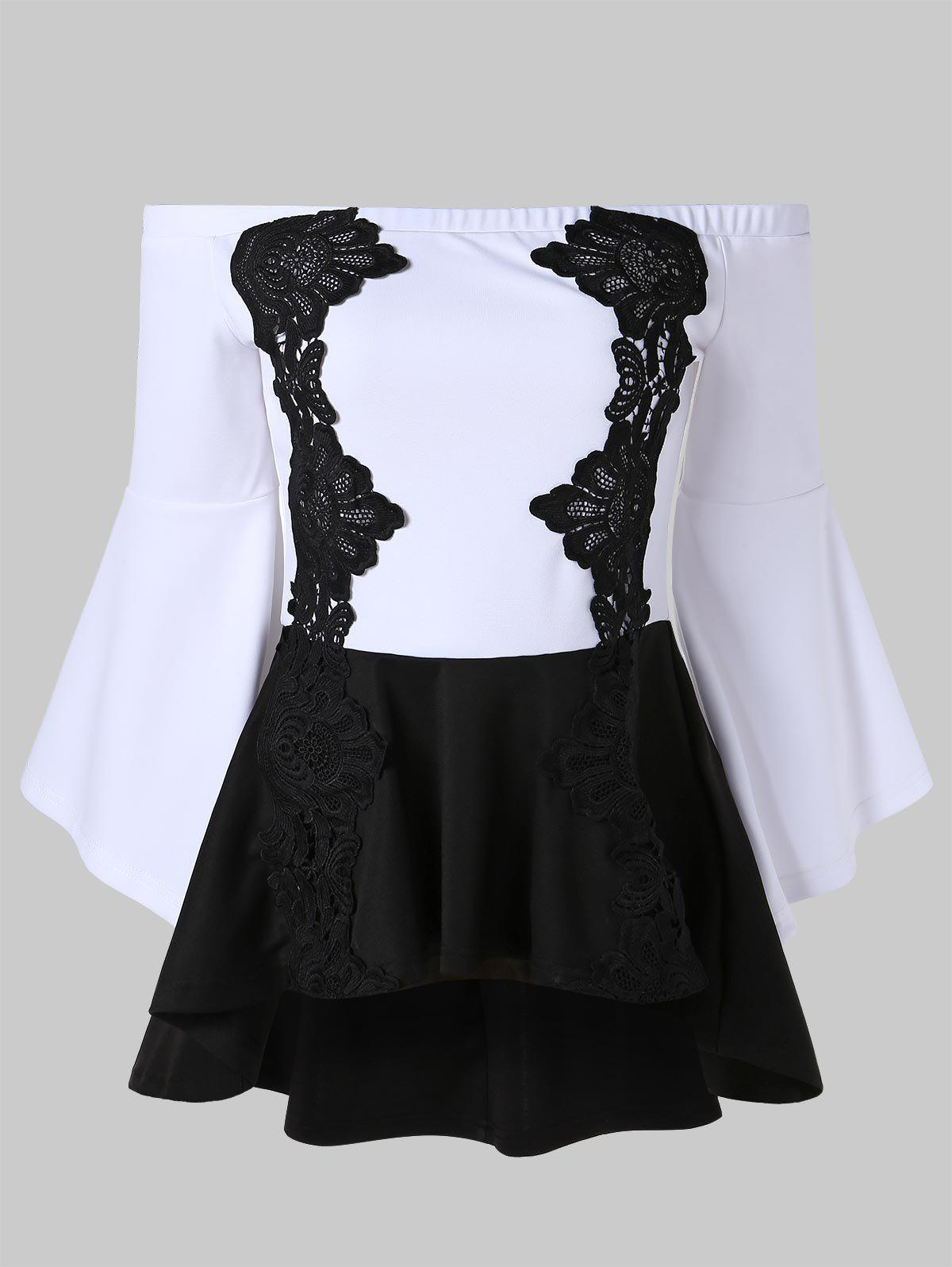 Online Off Shoulder Lace Panel High Low Top