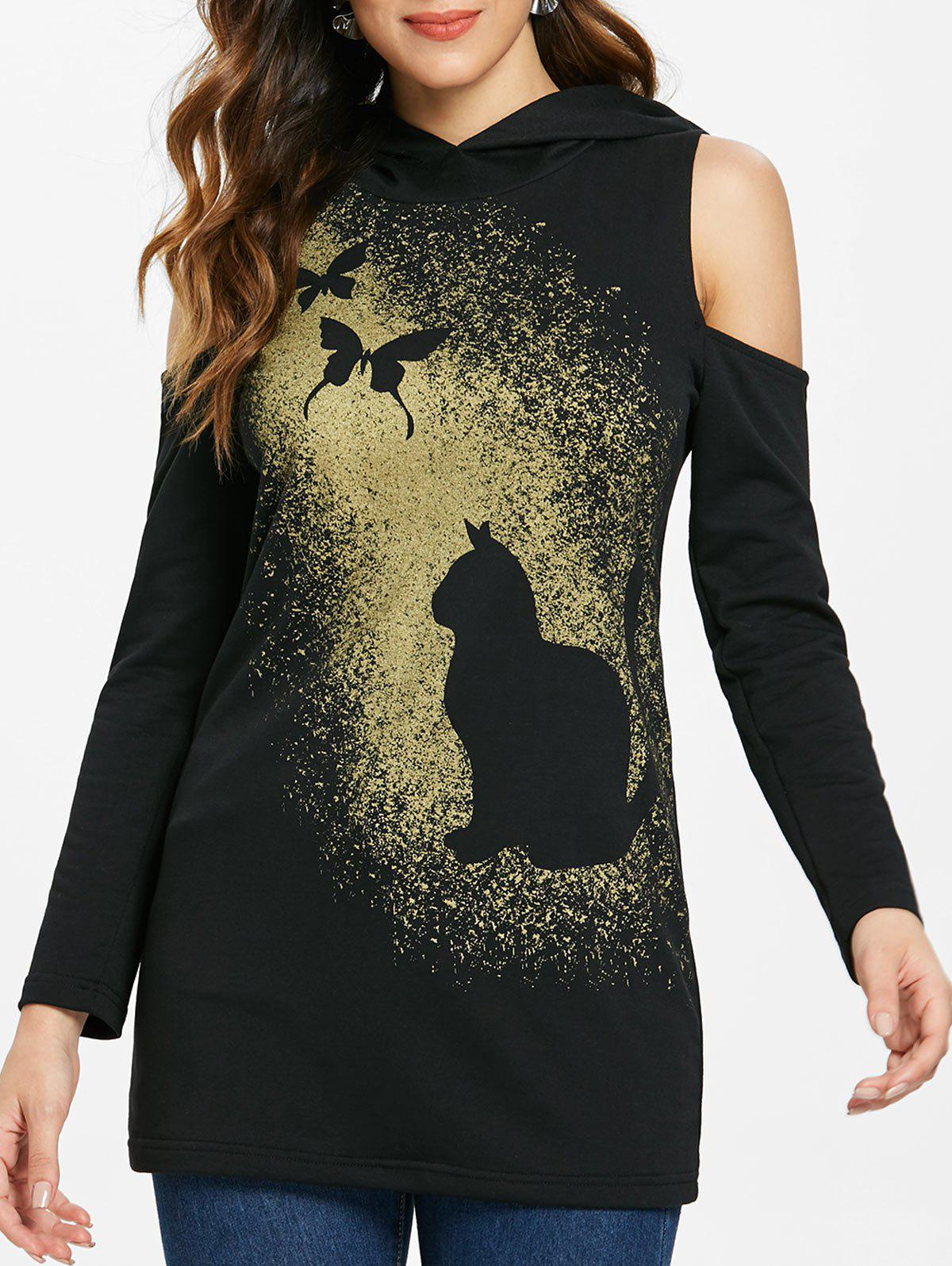 Fashion Halloween Butterflies Print Cold Shoulder Hoodie