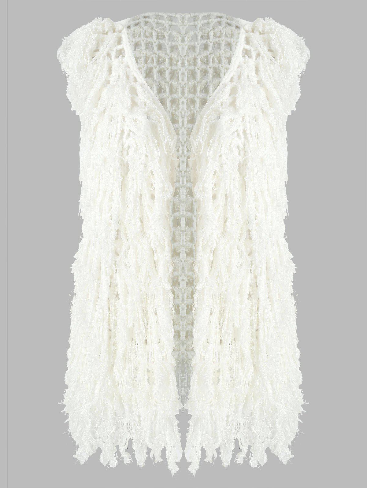 Chic Hollow Out Tassels Knit Vest Coat