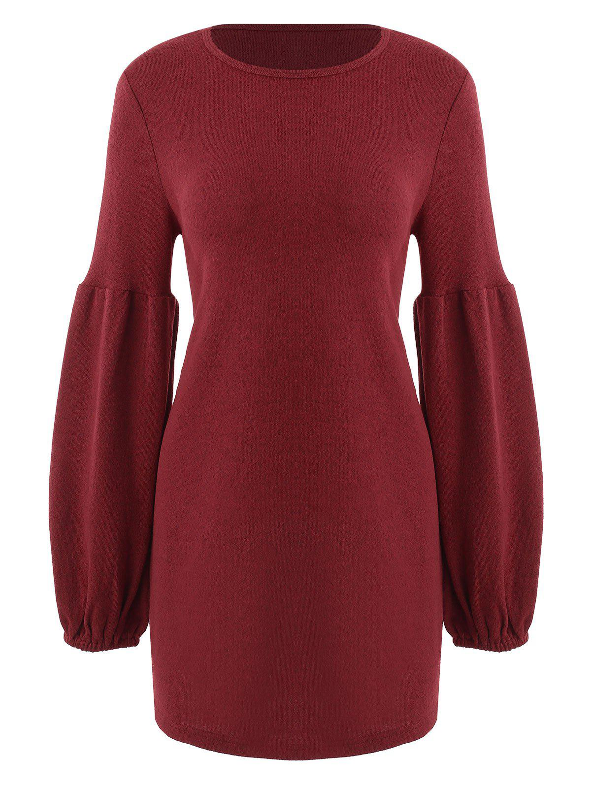 Cheap Puff Sleeve Mini Knit Dress
