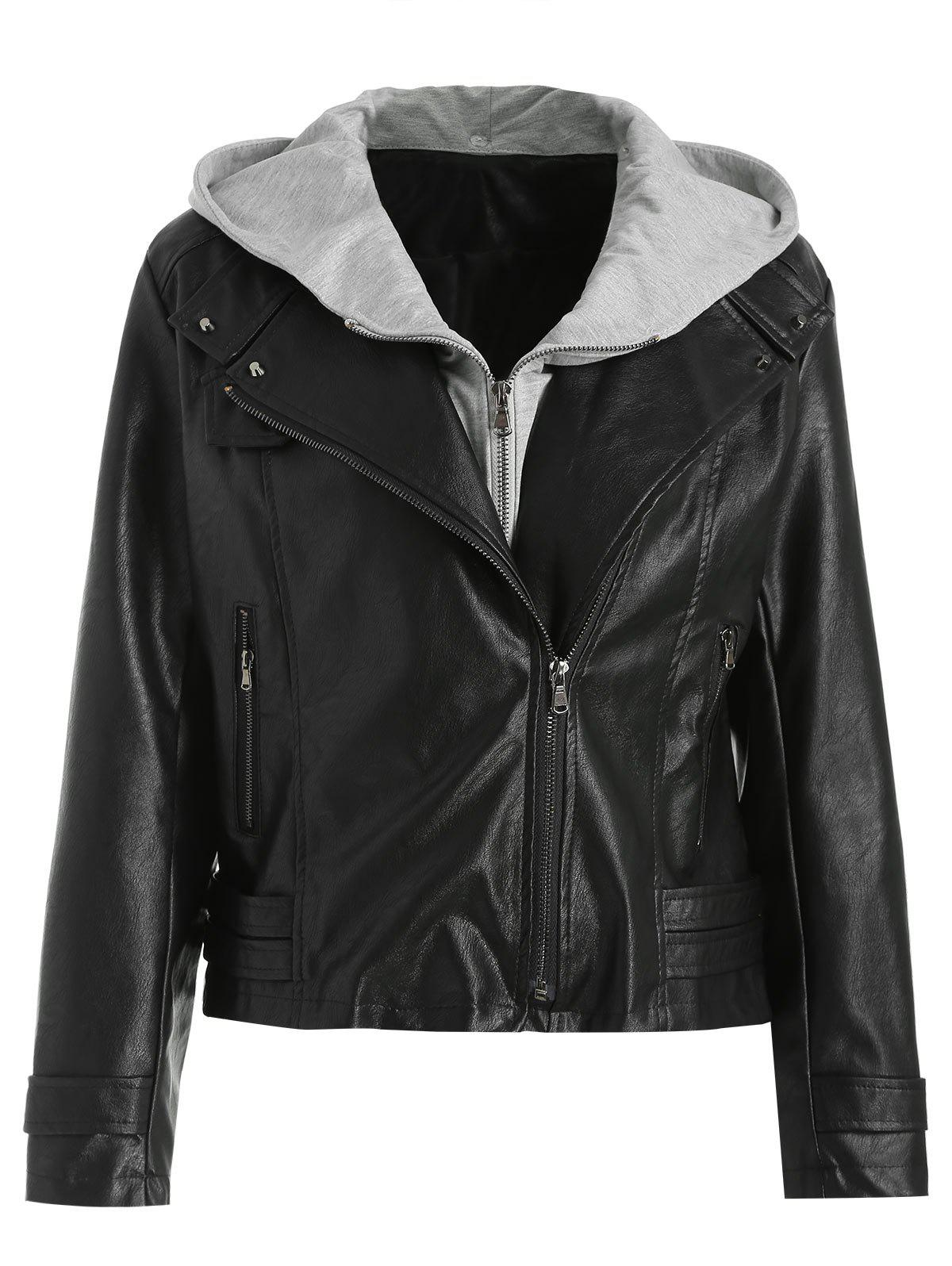 Sale Removable Hooded PU Leather Jacket