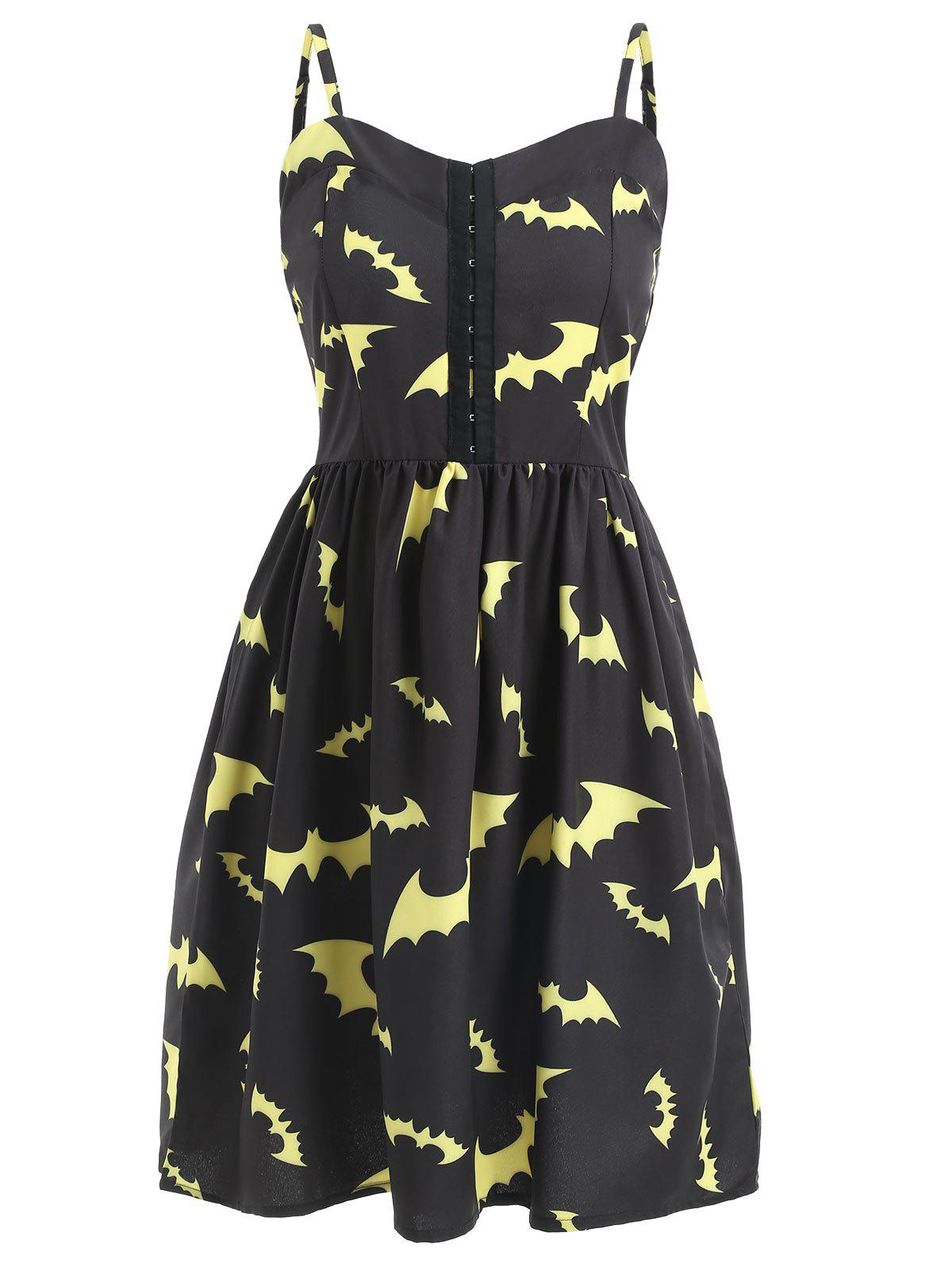 Buy Halloween Bats Print Cami Strap Dress
