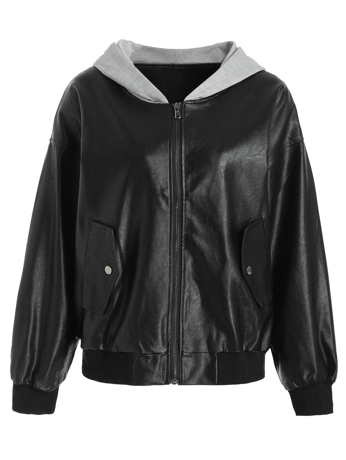 Latest Zipper PU Leather Hooded Jacket