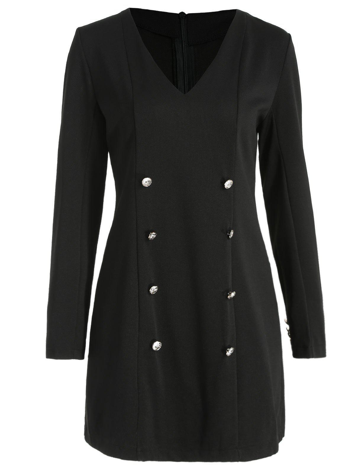 New Buttons Embellished Full Sleeve Mini Dress