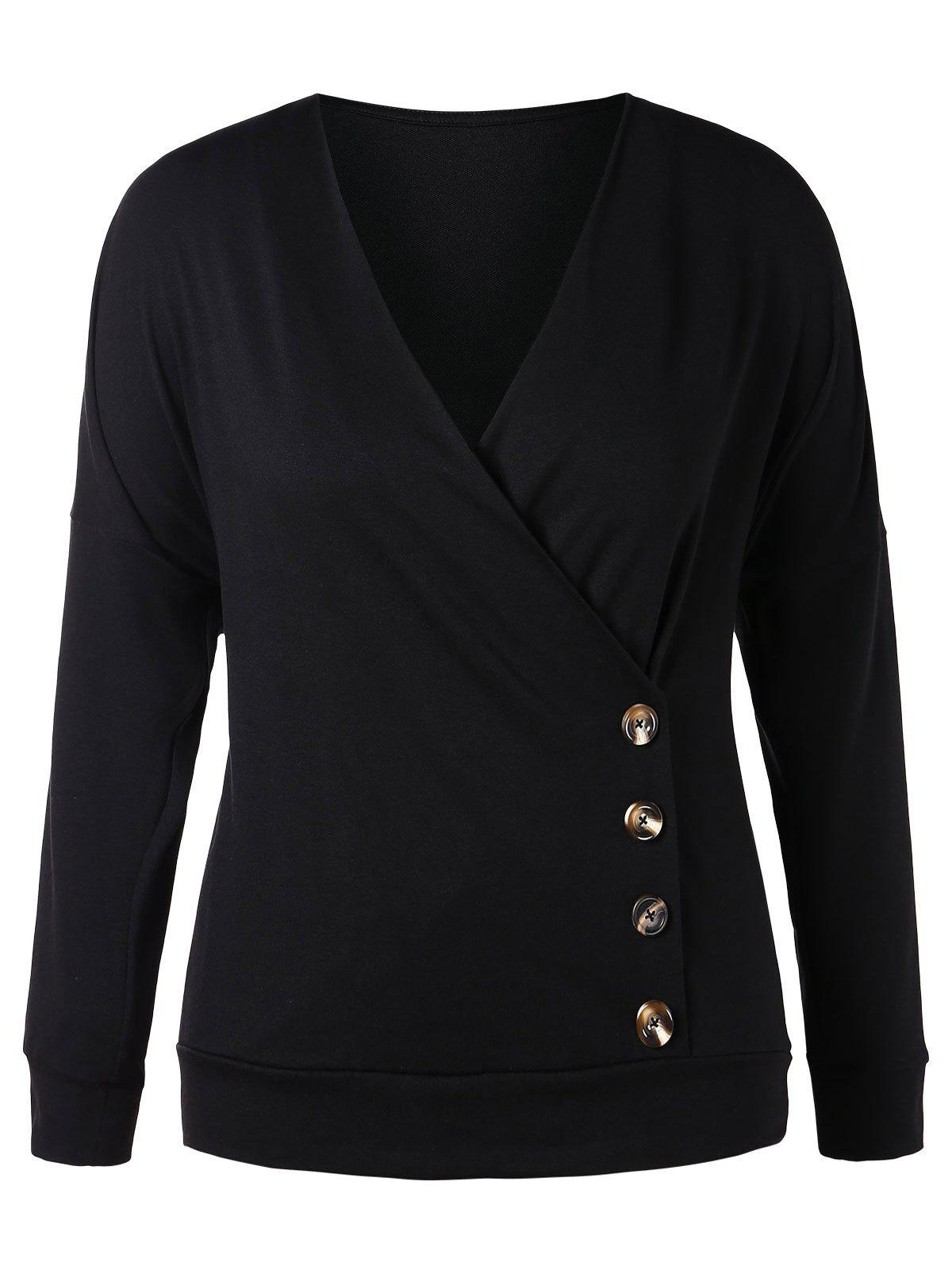 Online Plus Size Buttoned Surplice Sweatshirt
