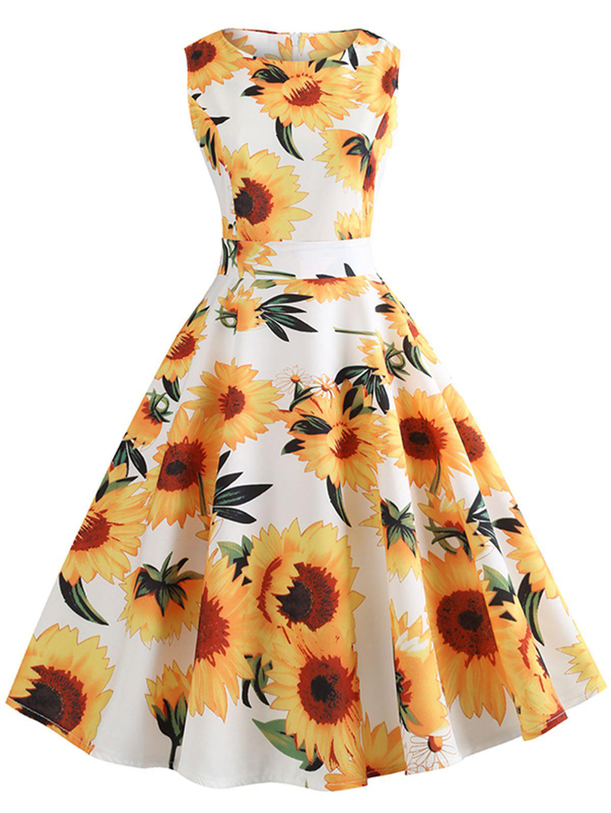 Outfits Vintage Sunflower Print High Waist Swing Dress