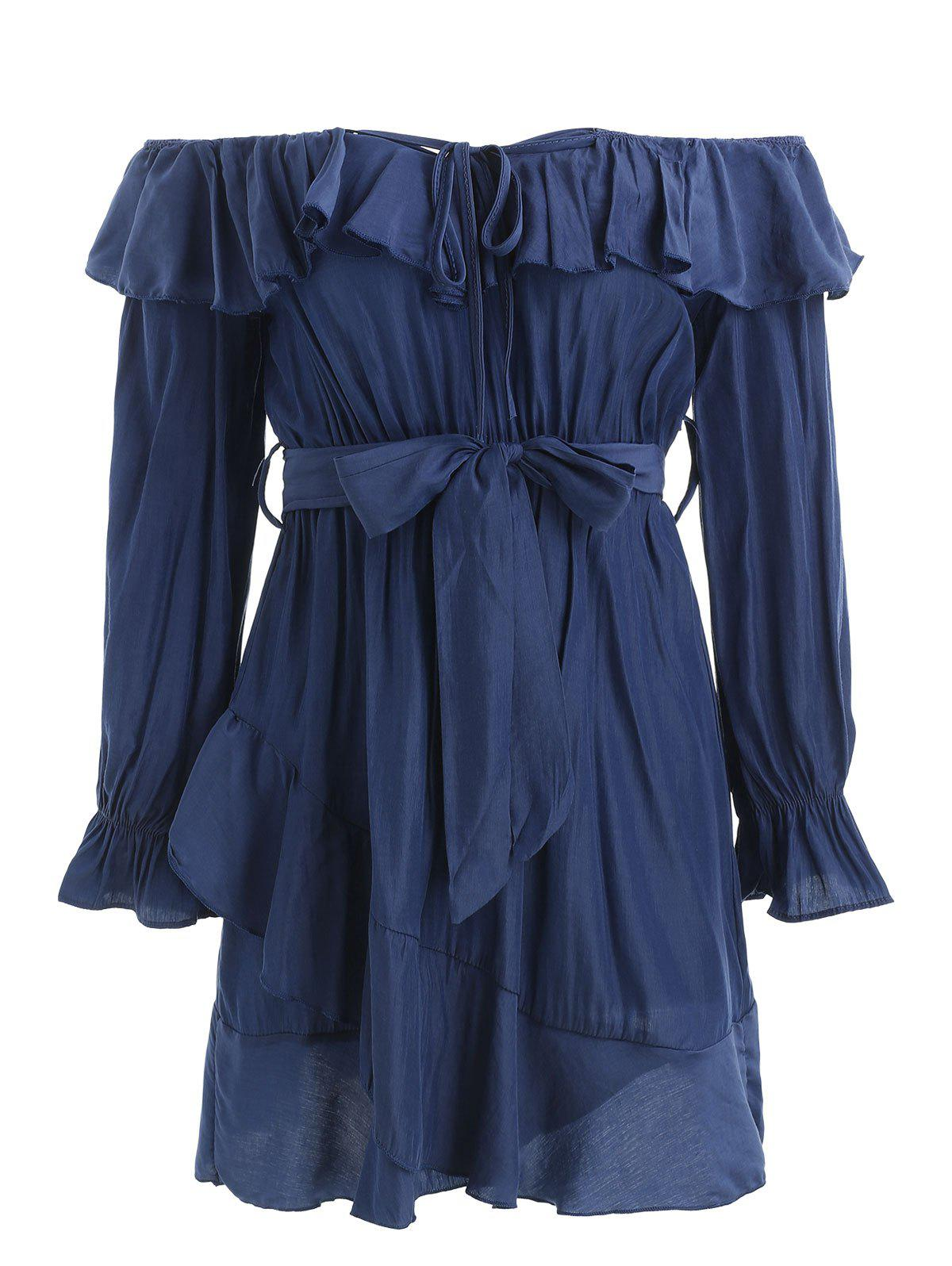 Buy Off The Shoulder Full Sleeve Ruffled Dress