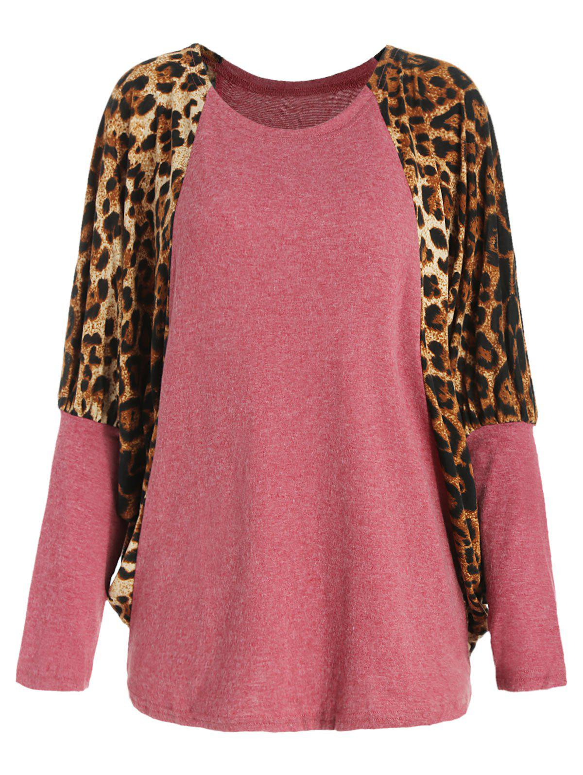 Buy Casual Scoop Neck Color Splicing Leopard Print Long Sleeves Loose-Fitting Women's Sweater