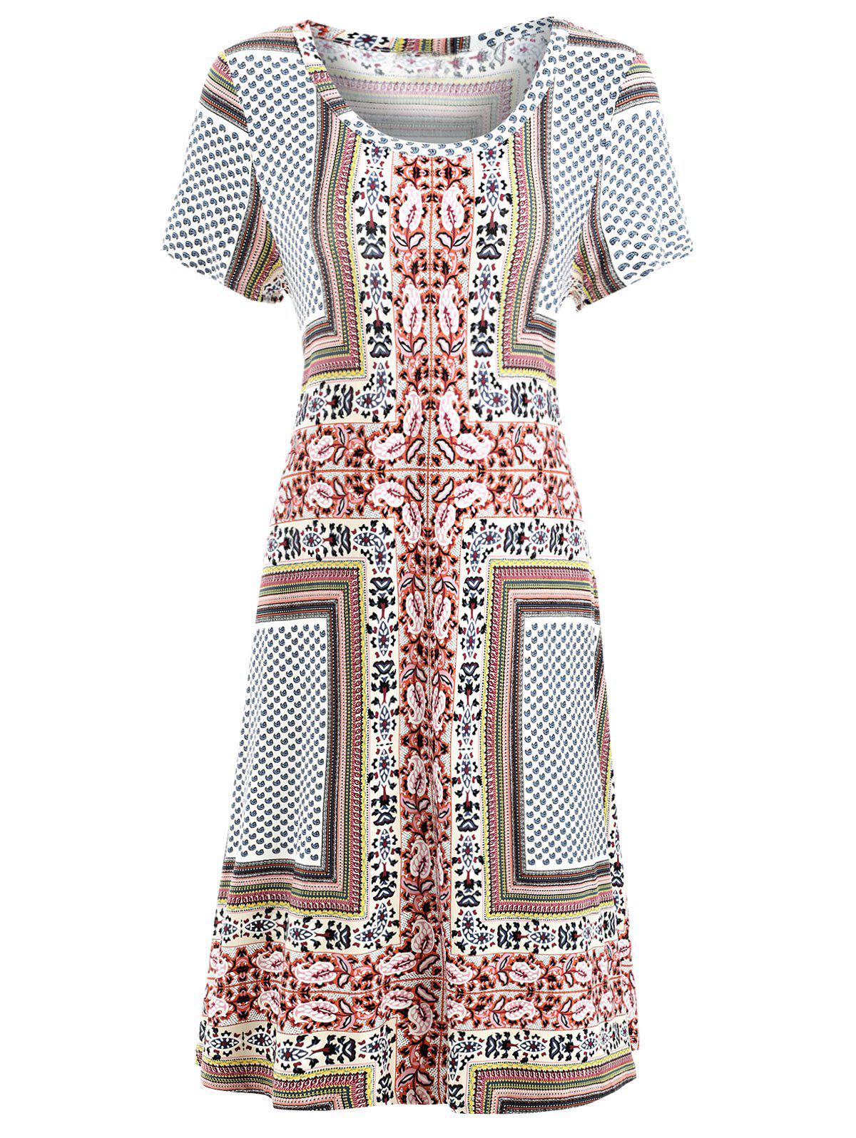 Chic Paisley Print Bohemian Shift Dress