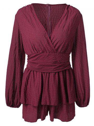 Long Sleeve Surplice Romper