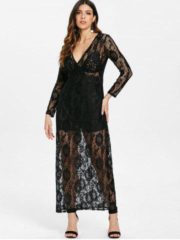 Elegant Plunging Neckline Long Sleeve Dress For Women
