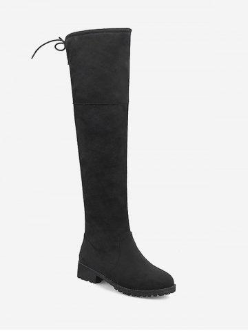 Plus Size Chunky Heel Suede Thigh High Boots