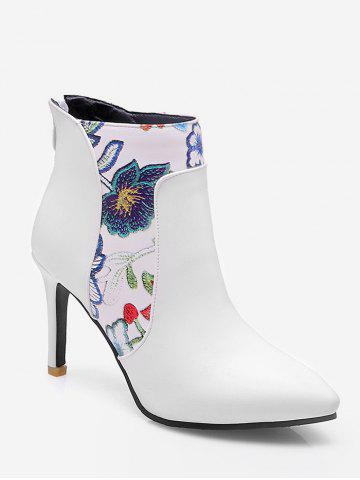 Plus Size Embroidered Pointed Toe Short Boots