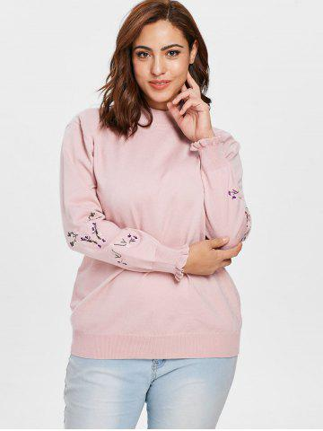 Plus Size Floral Patch Sleeve Sweater