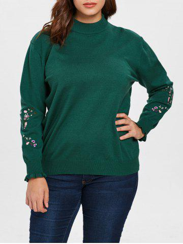 Plus Size Floral Patch Sleeve Sweater - MEDIUM SEA GREEN - L