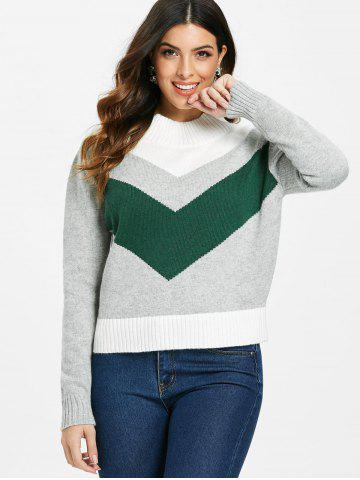 Contrasting Color Mock Neck Pullover Sweater