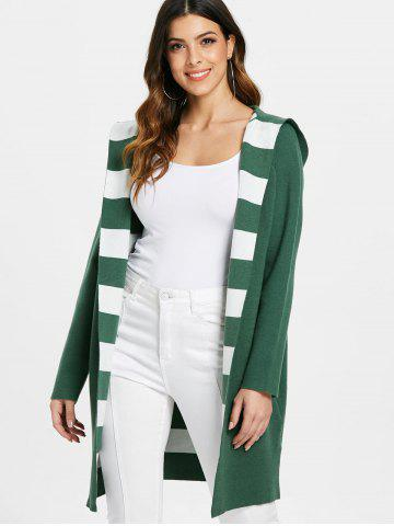 Striped Panel Open Front Hooded Cardigan