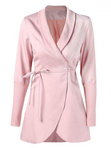 Ribbed Panel Wrap Skirted Coat - LIGHT PINK - M