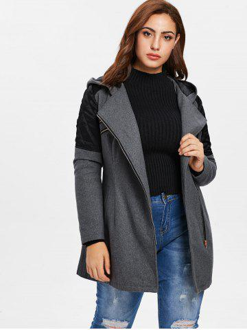 Plus Size Contrast Zippered Woollen Coat