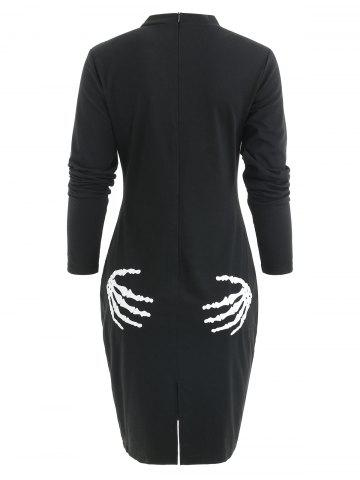 Cut Out Skeleton Halloween Costume Slit Sheath Dress