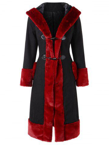 Horn Button Faux Fur Trim Long Coat