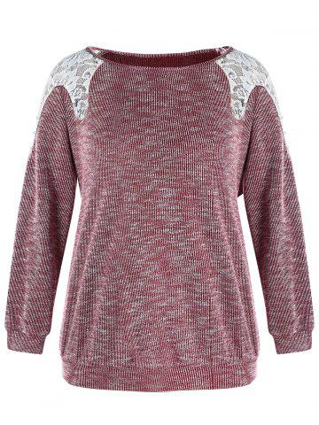 4b7085f3394 Plus Size Lace Spliced Boat Neck Beaded Long Sleeves Top