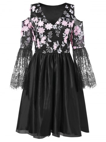 Lace Panel Floral Embroidered Cold Shoulder Dress