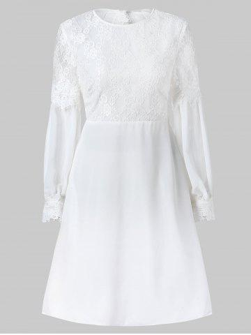Cut Out Lace Panel Long Sleeve Dress