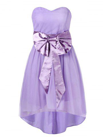Sweetheart Neckline Bowknot Sash High Low Mesh Cocktail Dress