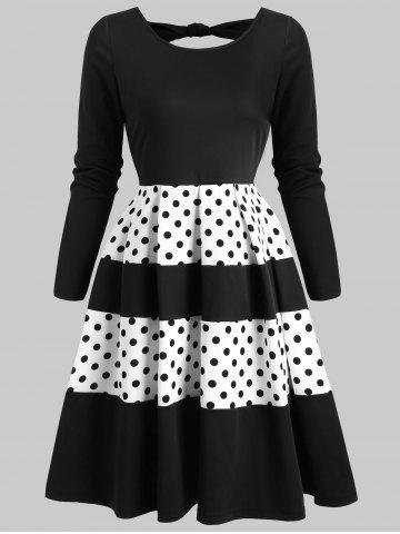 Contrast Dotted Back Cut Out Mini Dress