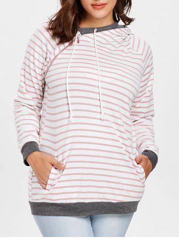 Plus Size Zip Front Long Sleeves Striped Hoodie - PINK - L