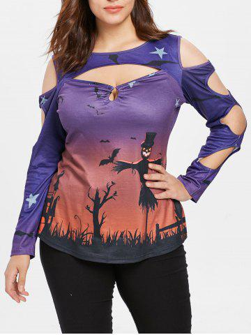 Halloween Print Plus Size  Cut Out T-shirt