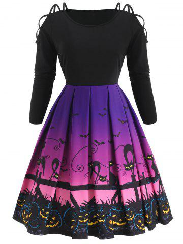 Halloween Criss Cross Cat Print Vintage Dress
