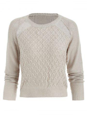 Sheer Mesh Insert Geometric Sweater