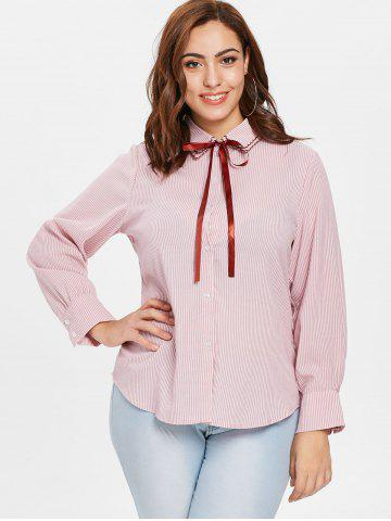 Plus Size Bow Tie Striped Blouse