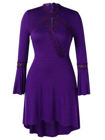 Plus Size Asymmetric Lace Spliced Bell Sleeves Dress